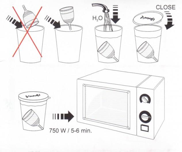 yuuki, hervir copa menstrual, recipiente microondas