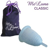 MeLuna transparente con purpurina azul agarre rabito